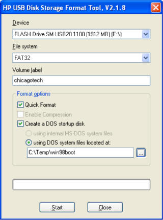 Create bootable USB for windows 98